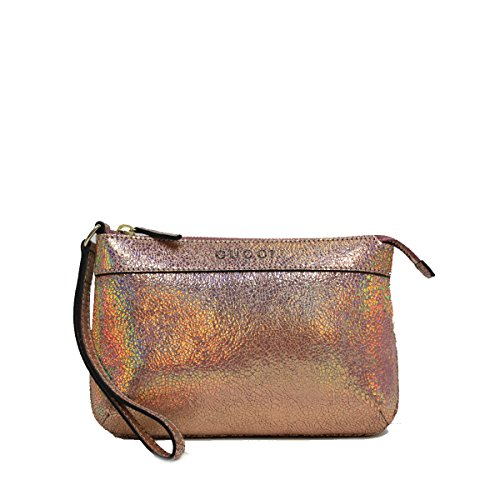 Gucci Leather Metallic Pink Textured Leather Wristlet Clutch Bag 274181