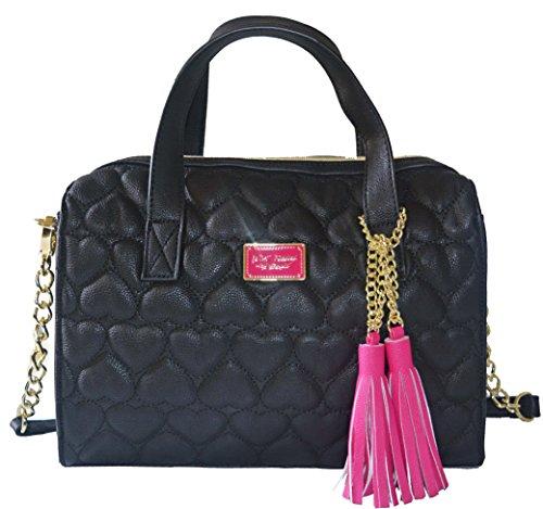 Betsey Johnson Boxed Be Mine Satchel Crossbody Handbag bag purse Black