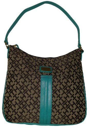 Tommy Hilfiger Women's Hobo Handbag, Chocolate Alpaca/Aqua