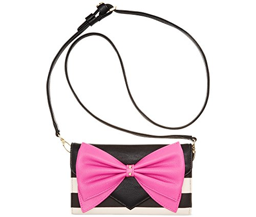 Betsey Johnson Exclusive Specialty Crossbody (Black/White Stripe, Pink Bow)