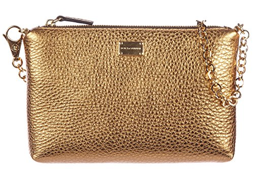 Dolce&Gabbana women's leather clutch handbag bag purse martellata gold