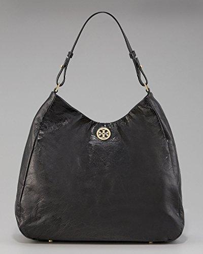 Tory Burch Dena Hobo Black Glazed Distresssed Slouchy Handbag Purse