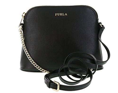 Furla Staffiano Leather Miky Cross-body/Shoulder Handbag in Onyx (001)