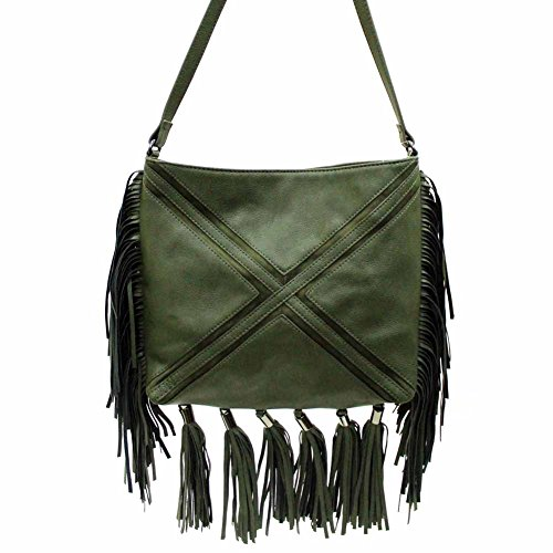 Madden Girl Capri Fringe Crossbody Purse in Olive