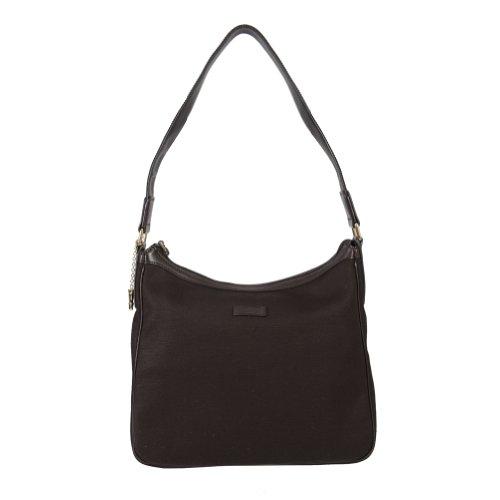 Gucci Women's Dark Brown Canvas Leather Trimmed Hobo Shoulder Bag