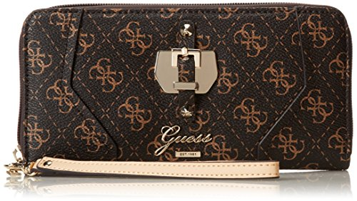 GUESS Women's Confidential Logo Zip-Around, BROWN