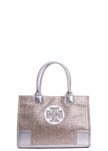 Tory Burch Ella Metallic Straw MINI Tote with Silver Leather