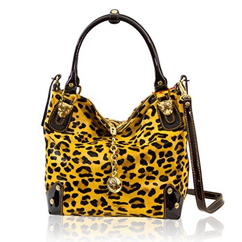 Marino Orlandi Italian Designer Cheetah Haircalf Large Crossbody Bag Purse