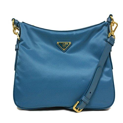 Prada BT0706 Turquoise Blue Tessuto Saffian Nylon and Leather Crossbody Messenger Bag