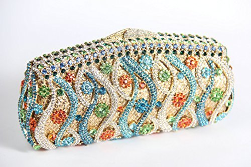 Yilongsheng® Bling Flower Clutch Purse Rhinestone Crystal Evening Clutch Bags