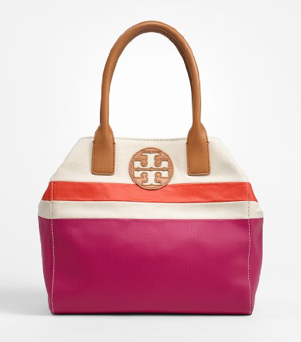 Tory Burch Mini Dipped Tote Fuschia Multi Beach Handbag