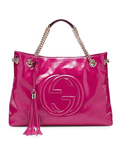 Gucci Soho Patent Leather Shoulder Bag, Hot Pink Bougainvillea Bag