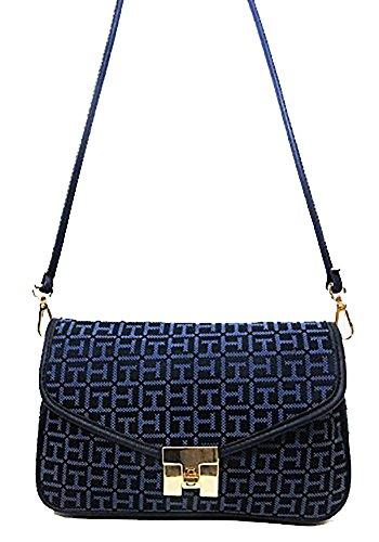 Tommy Hilfiger Postino Navy Blue Signature Jacquard Cross-body Bag