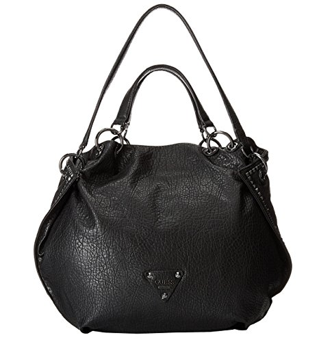 GUESS Women's Dylan Black Large Tote Bag Handbag Purse (Black Multi)