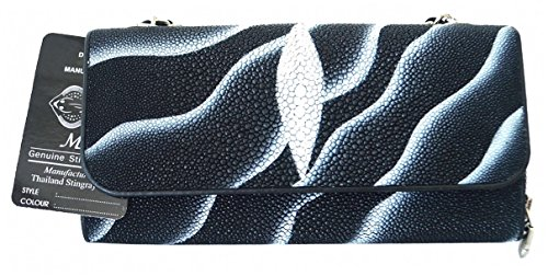 Authentic Stingray Skin Women's Clutch Shoulder Bag Chain Grey Sand Handbag