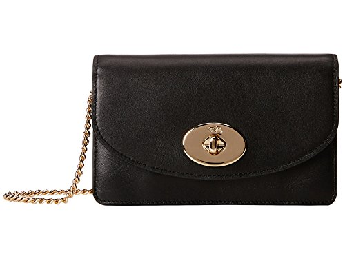 Coach Smooth Leather Clutch Wallet Chain Bag 53277 Black
