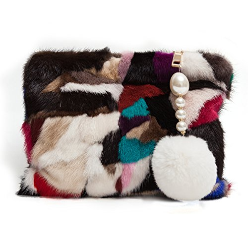 Zarapack Women's Genuine Mink Fur Evening Clutch Handbag Multi Color