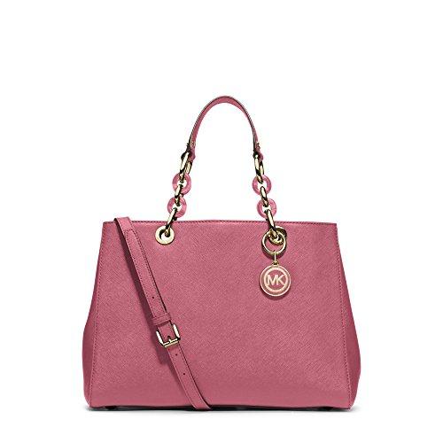 Michael Kors Cynthia Medium Leather Satchel Tulip Bag