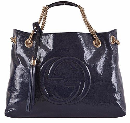 Gucci Women's Blue Patent Leather Chain Strap Soho Handbag
