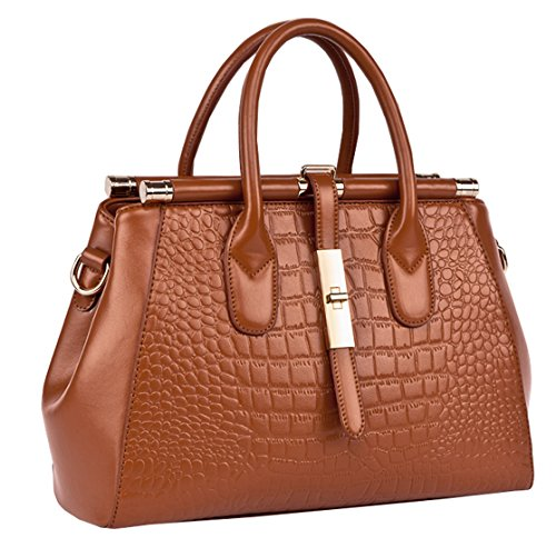 Heshe 2015 New Office Lady Leather Luxury Fashion Crocodile Tote Top Handle Crossbody Shoulder Summer Satchel Purse Handbag for Women (Brown)