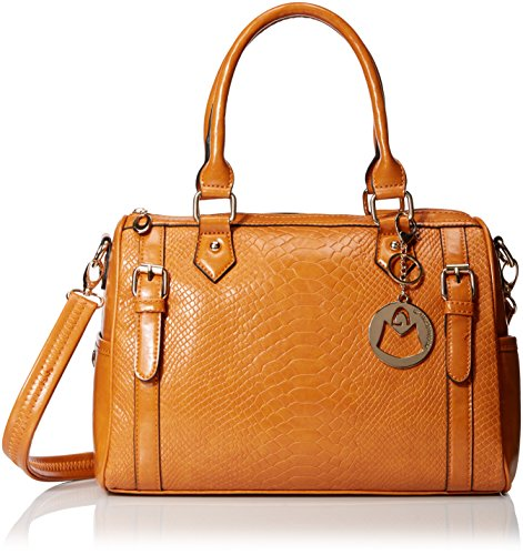 MG Collection Faux Snakeskin Bowling Convertible Top Handle Bag, Caramel, One Size