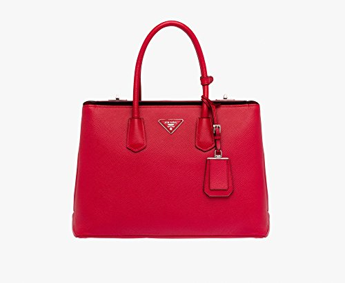 Prada Women's Saffiano Cuir Leather Handbag BN2748 F068Z Fuoco(Red)