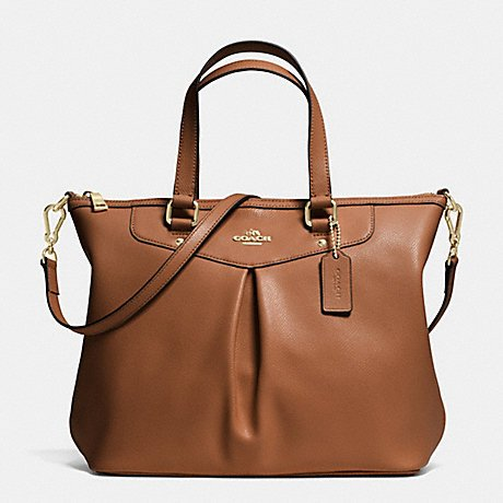 Coach F34680 Pleat Tote in Crossgrain Leather Light Gold/SADDLE BROWN