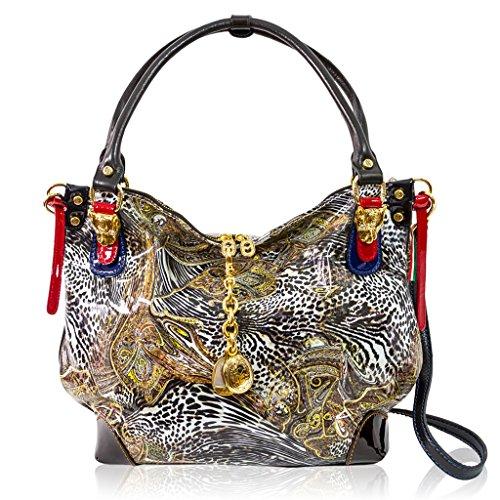 Marino Orlandi Italian Designer Jungle Glitter Patent Leather Large Purse Bag