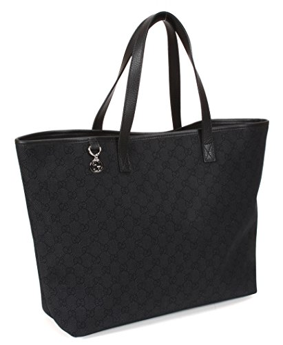 Gucci GG Logo Canvas and Leather Large Tote Bag 211525, Black
