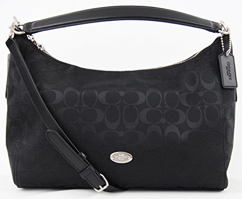 COACH 12CM Signature EW Celeste Hobo Shoulder Bag Black