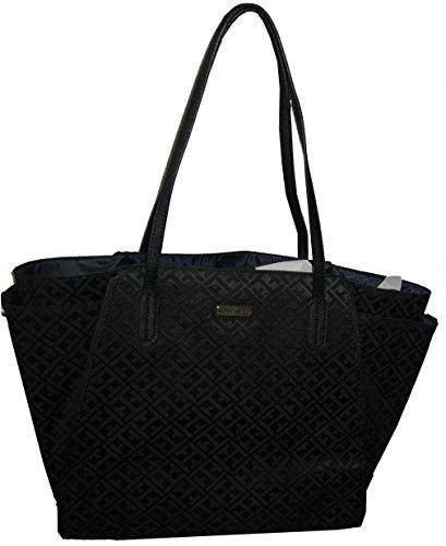 Tommy Hilfiger Canvas Large Tote Shopper Handbag Purse Black