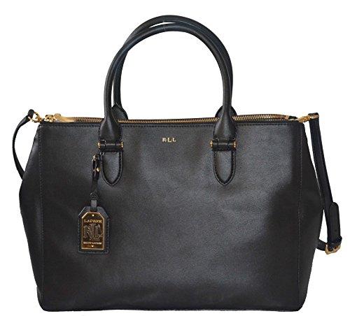 LAUREN Ralph Lauren Winford Double Zip Satchel Handbag Purse Black