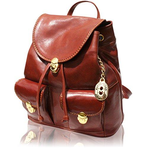 Marino Orlandi Italian Designer Chestnut Leather Backpack Purse Sling Bag