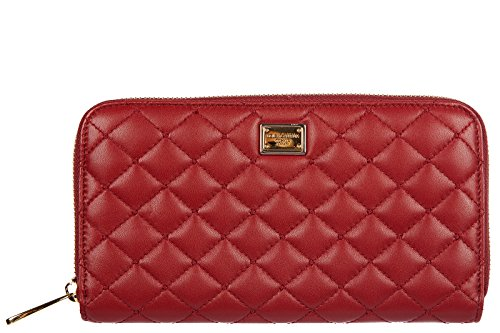 Dolce&Gabbana women's wallet leather coin case holder purse card bifold agnello red