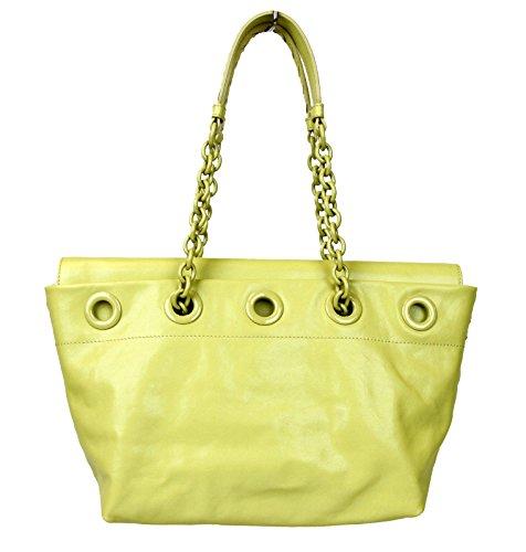 Bottega Veneta Lime Yellow Chain Handle Leather Tote Bag 309336 9441