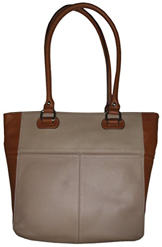 Tignanello Perfect Pockets Medium Leather Tote Mushroom/Cognac
