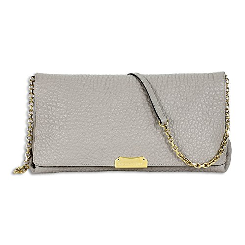 Burberry Medium Signature Pale Grey Leather Clutch