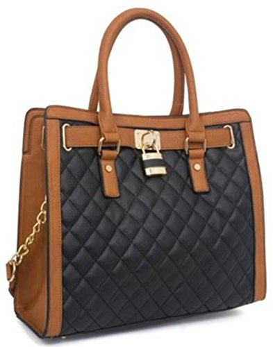 Beaute Bags Hamilton Large Handbag Padlock Tote Vegan Leather. Versatile and fashionable for everyday use, this bag will add dashing classiness to your look. Wear it as a top-handle bag or switch to the shoulder strap to be hands-free. Flatters a professional work wardrobe or adds smarts to a dressy casual look. The perfect elegant bag for schlepping a book or tablet, or use as a small overnight bag.