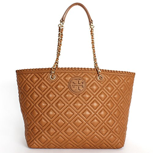 Tory Burch Marion Quilted Leather Small E/W Tote Tigers Eye