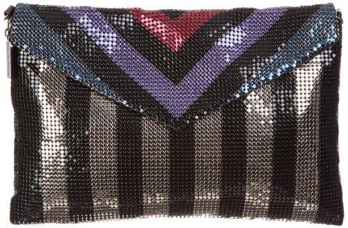 Whiting & Davis Women's Opposing Stripes Envelope 1-4114BKMT Clutch