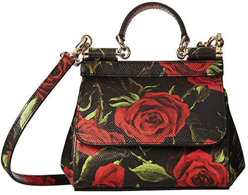 Dolce & Gabbana Black Rose Fondo Leather Miss Sicily Mini Crossbody Bag