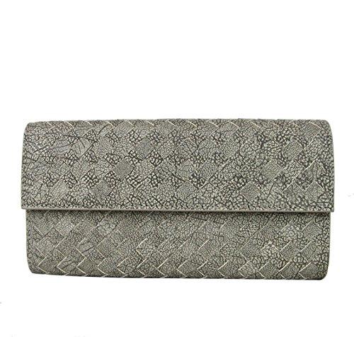 Bottega Veneta Gray Leather Woven Wallet Continental Clutch 261995 9641