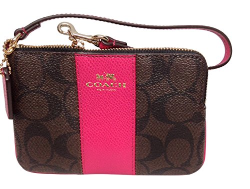 Coach Signature PVC Leather Khaki Brown/Cranberry Corner Zip Wristlet 64233