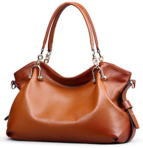 Heshe® Luxury New Fashion Lady Soft Cowhide Leather Vintage Shoulder Bag Handbag Tote Top-handle Purse Cross Body Big Capacity Casual Simple Style
