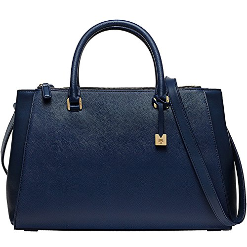 [New Arrival] 2015 SS MCM Authentic Elda Medium Tote Bag Navy MWT5SED31VY