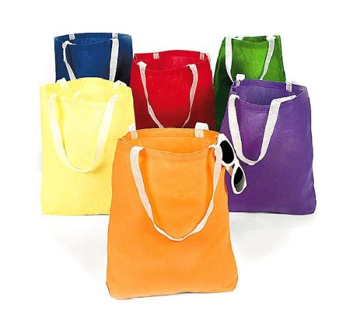 Canvas Bright Tote Bags (12 Pack) 10″ X 1 Ft. With 9″ Nylon Handles.