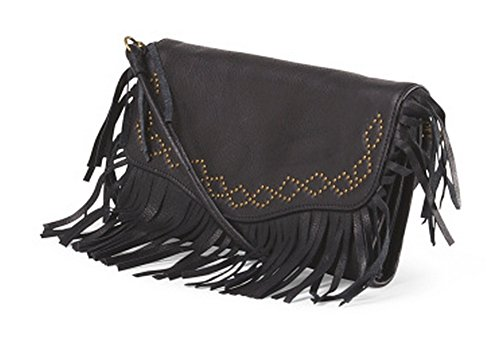 Lucky Brand Loredo Fringe Crossbody/Clutch, Black