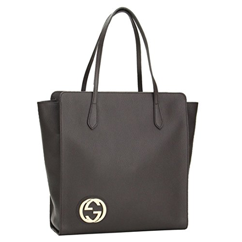 Gucci Interlocking GG Logo Large Brown Leather Double Handle Tote Bag 353581