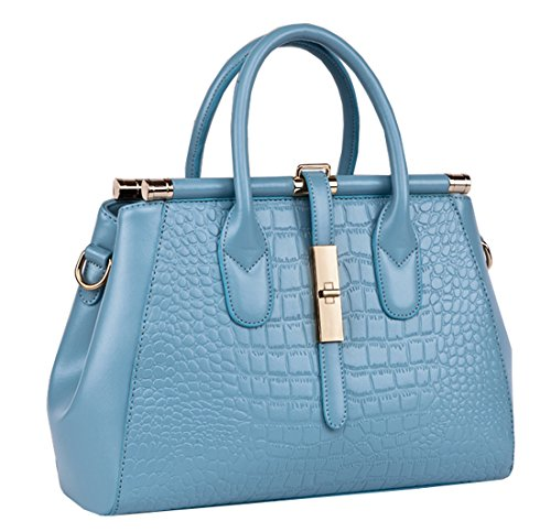 Heshe 2015 New Office Lady Leather Luxury Fashion Crocodile Tote Top Handle Crossbody Shoulder Summer Satchel Purse Handbag for Women (Lake Blue)