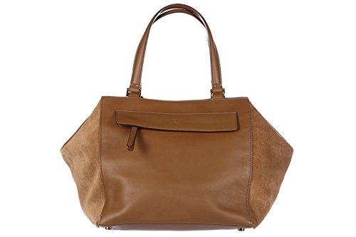 Fendi women's leather handbag shopping bag purse foresta brown